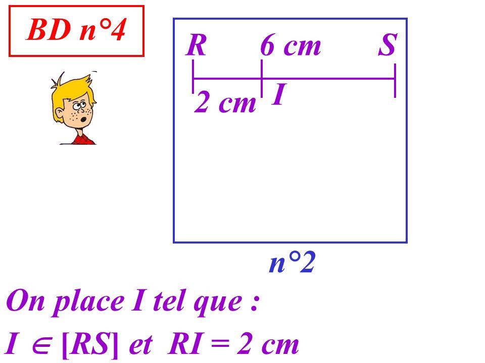 BD n°4 R 6 cm S I 2 cm n°2 On place I tel que : I  [RS] et RI = 2 cm